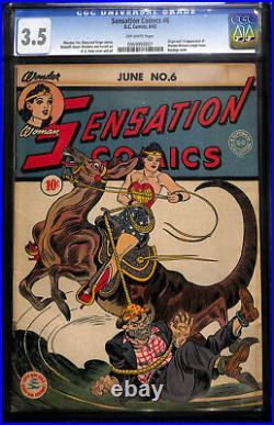 1942 Sensation Comics #6 CGC 3.5! 1st App of Magic Lasso! WORLDWIDE SHIPPING