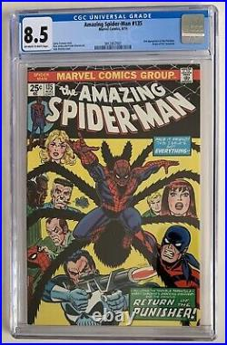 (1974) Amazing Spiderman #135 2nd App THE PUNISHER! CGC 8.5 OWithWP