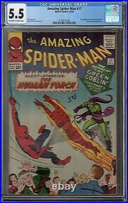 AMAZING SPIDER-MAN #17 MARVEL 10/64 CGC 5.5 STAN LEE STORY 2nd APP GREEN GOBLIN