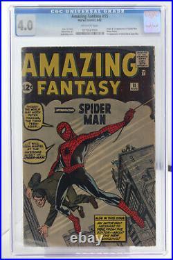Amazing Fantasy # 15 CGC 4.0 Origin & 1st app of Spider-Man (Peter Parker)