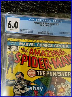 Amazing Spider-Man #129 CGC 6.0 1974 1st app. Punisher, Jackal. White Pages