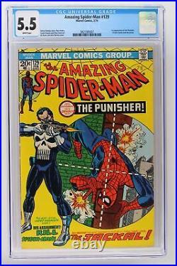 Amazing Spider-Man #129 Marvel 1974 CGC 5.5 1st App Punisher & Jackal