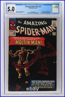 Amazing Spider-Man #28 Marvel 1965 CGC 5.0 1st App & Origin of The Molten Man