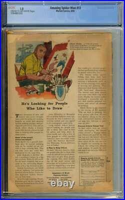 Amazing Spider-man #13 Cgc 1.0 Cr/ow Pages // Origin + 1st App Mysterio 1964