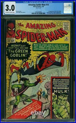 Amazing Spiderman Issue 14 Jul 1964 G/vg Cgc 3.0 1st Green Goblin Hulk App