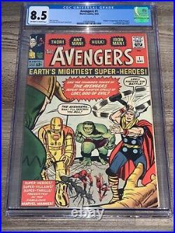 Avengers 1 CGC 8.5 Marvel 1963 1st App Avengers Hulk Iron Man Thor Loki SA Key