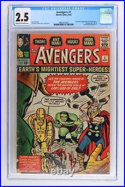 Avengers #1 Marvel 1963 CGC 2.5 Origin and 1st App of The Avengers. Loki