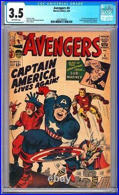 Avengers #4 CGC 3.5 1st Silver Age app. Of Captain America (Steve Rogers) L@@K