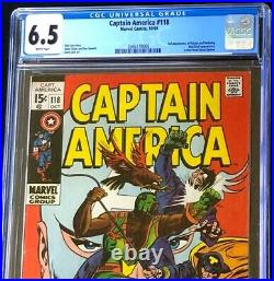 Captain America #118 (1969) CGC 6.5 WHITE Pages 2nd App of FALCON! Comic