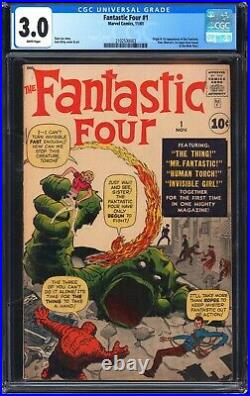 Fantastic Four 1 CGC 3.0 1st app MOLEMAN! White pages, Beautiful Eye appeal