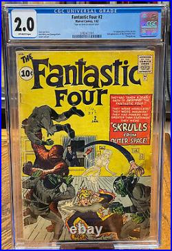 Fantastic Four 2 1st App Of Skrulls, 2nd App Of Team Off-white Pages Cgc 2.0