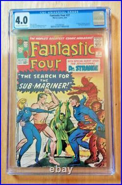 Fantastic Four #27 1964 Cgc 4.0 Ow To Wp 1st Dr Strange X-over Sub-mariner App