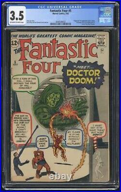 Fantastic Four #5 CGC 3.5 (Marvel 7/62) Full page ad Hulk 1, 1st app Doctor Doom