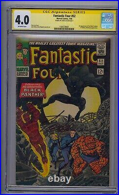 Fantastic Four #52 Ss Cgc 4.0 1st App Black Panther Signed By Stan Lee