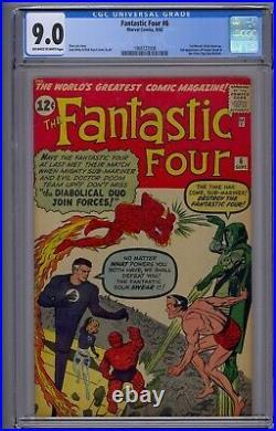 Fantastic Four #6 Cgc 9.0 2nd App Doctor Doom & Silver Age Sub-mariner