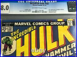 Hulk 182 CGC 8.0 1st app. Of Hammer & Anvil Wolverine Cameo