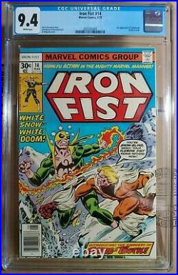 IRON FIST 14 HUGE KEY 1st App SABRE-TOOTH GORGEOUS COPY CGC 9.4 NM WHITE PAGES