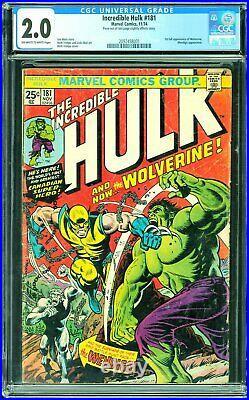 Incredible Hulk #181 CGC 2.0 1st full app of Wolverine. Wendigo app
