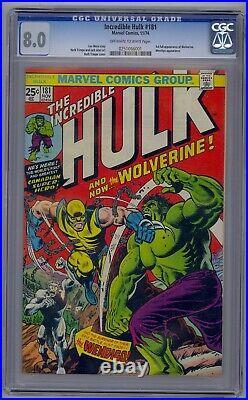 Incredible Hulk #181 Cgc 8.0 1st Full Wolverine Wendingo App