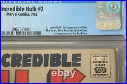 Incredible Hulk #2 Cgc 3.5 1st Green Hulk, 2nd App. Of Hulk 1962 Marvel