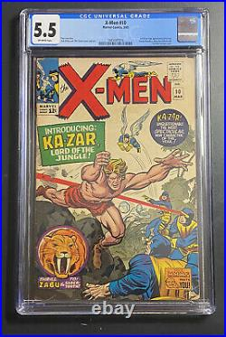 Marvel Comics (Uncanny) X-Men #10 CGC 5.5 1st App of KaZar Silver Age Jack Kirby