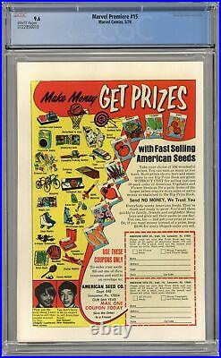 Marvel Premiere #15 CGC 9.6 1974 3722856010 1st app. And origin Iron Fist