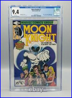 Moon Knight #1 CGC 9.4 White Pages Origin 1st app Bushman Disney Plus Marvel