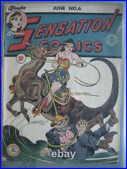 Sensation Comics #6 CGC 3.5 DC 1942 Origin & 1st app Wonder Woman's magic lasso