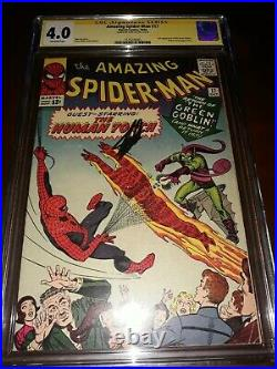 Signed STAN LEE Amazing Spider-Man #17 CGC SS 4.0 2nd app GREEN GOBLIN 1964