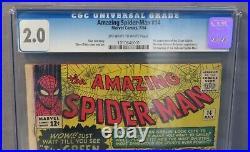 THE AMAZING SPIDER-MAN #14 (Green Goblin 1st app, Hulk) CGC 2.0 GD Marvel 1964