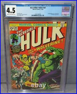 THE INCREDIBLE HULK #181 (Wolverine 1st app. With MVS) CGC 4.5 VG+ Marvel 1974