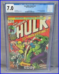 THE INCREDIBLE HULK #181 Wolverine 1st app. With MVS CGC 7.0 FN/VF Marvel 1974
