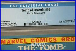 Tomb Of Dracula #10 Cgc 8.0 1st App. Of Blade The Vampire Slayer'73 Marvel