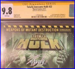 Totally Awesome Hulk 22 CGC SS 9.8 Signed STAN LEE 1st App Weapon H