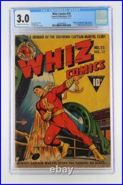 Whiz Comics #25 CGC 3.0 GD/VG -Fawcett 1941- 1st App Captain Marvel Jr