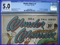 Wonder Woman #6 CGC 5.0 DC Comics 1943 1st app Cheetah (Priscilla Rich)